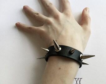 The CRUELLE Cuff: Spiked Black Leather Cuff Bracelet - Goth, Nugoth, Deathrock, Black Metal, BDSM, Fetish