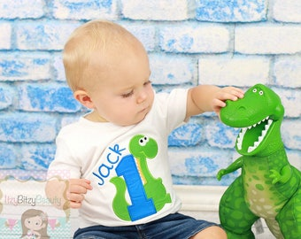 Dinosaur First Birthday Shirt Boys Embroidered Personalized Custom Name