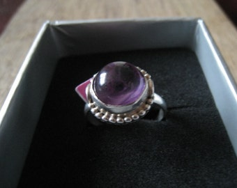 Sterling Silver Pebbled Purple Amethyst Ring 8.25 (678)