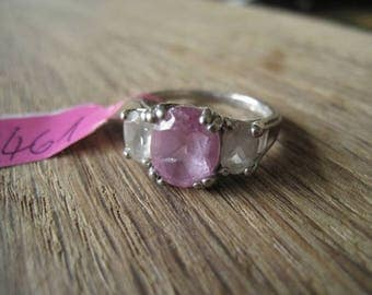 Sterling Silver Faceted Purple/Pink White Crystal Ring Size 6.75-7 (461)