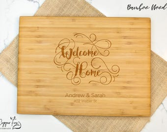 Real Estate Closing Gift, Realtor Closing gift for buyers, housewarming gift, new home gift, cutting board personalized cutting board - 044