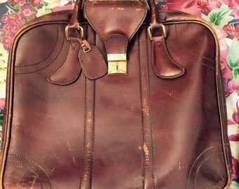Vintage French Leather Luggage, Suitcase, Swiss Hardware. Weekend Bag