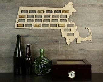 Massachusetts  Wine Cork Map,Wine Cork Display,Wine Cork Collector,Wine Cork Art,Wine Cork Home Decor,Wine Lover's Gift, Cork Collection Art