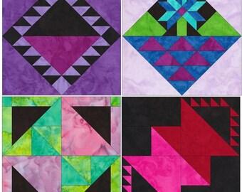 10 Inch Basket Foundation Set 2 Paper Piecing Quilting 4 Block Patterns PDF