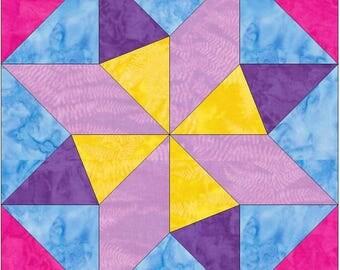 EQ Star 15 Inch Block Paper Template Quilting Block Pattern PDF