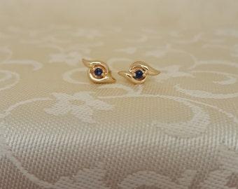 Petite and Feminine Royal Blue Sapphire Earrings in 14k Gold -EB634