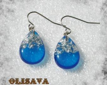 Small  Resin  teardrop  glitter earrings  ,  Resin Jewelry , Resin glitter Jewelry , resin earrings