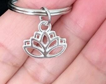 SALE - Lotus Flower Keychain, Flower Keychain, Yoga Keychain, Friendship Keychain, Best Friend Keychain, Gift.