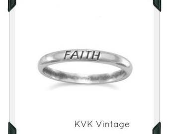 "Oxidized ""Faith"" Band - Inspirational Ring, Stamped Ring"