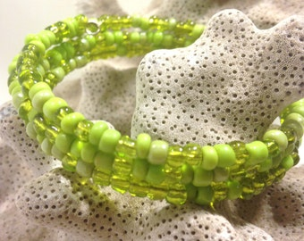 Green Beaded Memory Wire Bracelet