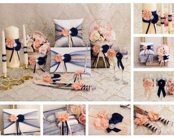 Navy Blush Flower Girl Basket, Ring Bearer Pillow, Guest Book, Pen Holder, Unity Candles Set, Cake Serving Set, Champagne Flutes, Garter Set