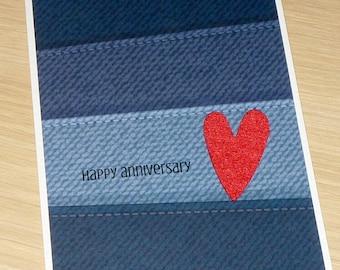Happy Anniversary Card - husband wife - boyfriend girlfriend partner fiance - love - handmade greeting card