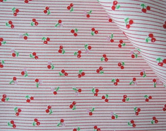 "Fat Quarter of 2016 Lecien Minny Muu Mini Red Stripe Cherries on Pink Background. Approx. 18"" x 22"" Made in Japan"