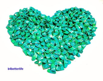 Lot of 365pcs Medium Size Cyan Color 3D Origami Hearts 'LOVE'. (CY paper series). #FOH-164.