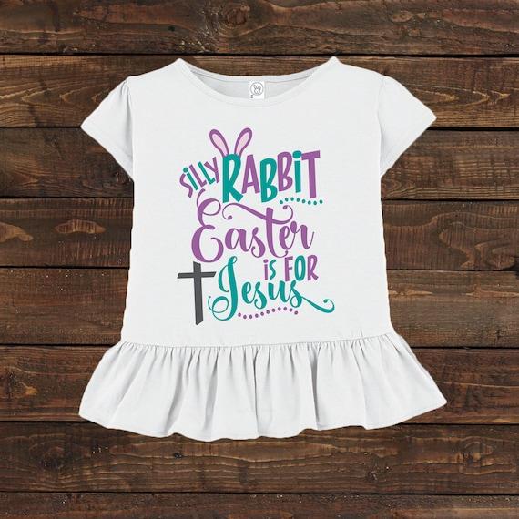 Girls Ruffled Easter Shirt Toddler Preschool Rabbit Jesus