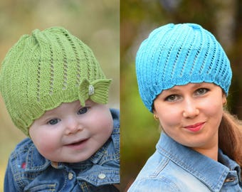 Knitting Pattern - Spinning Waves Hat (Baby, Child, Adult sizes) in ENG and RUS