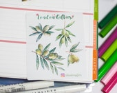 Olives on branches - decorative watercolour planner stickers suitable for any planner -269-