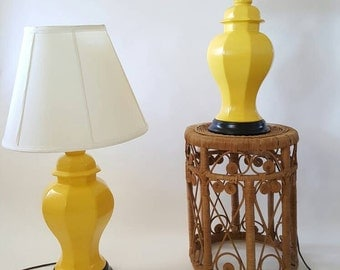Pair of Yellow Ceramic Ginger Jar Lamps (Shades NOT Included)