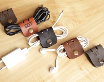 Cord Organizer,Monogramed Cable Organizer,4 Pieces Cable Organizer,Personalized Cable Organizer,Earbuds Organizer,