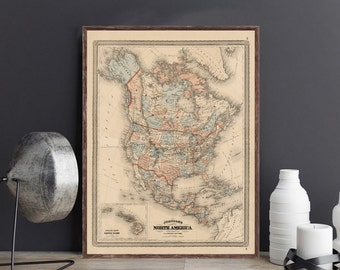 Johnson Mexico Map Etsy - 3 color us map