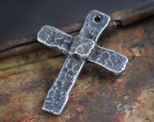 Hammered Texture Cross Pendant Handcrafted Jewelry Making Components  No. 290PD