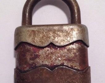 On Sale Old Vintage Red Padlock Lock Industrial