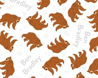 Bear Design - changing pad cover, fabric by the yard, blanket, crib sheet