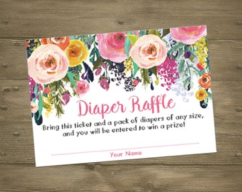 Rose Floral Girl Baby Sprinkle Shower Diaper Raffle Insert Cards / Beautiful Watercolor Roses Flowers Floral / Pink Whimsical Printable