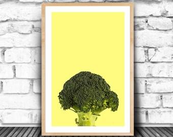 Brocolli Print, Peekaboo Boroccoli, Greenery Broccoli, Color of The Year, Peek Print, Brocoli, Eat Your Veggie Print, Veggie Peekaboo, JPG