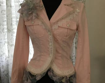Refashioned Pink Jean Jacket, Recycled Jean Jacket, Refashioned Denim Jacket, Pink Jacket, OOAK