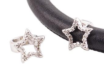 LM1835S ~  Sparkly Silver Embellished Star Charm for Wrap Charm Bracelets
