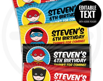 Superhero Chocolate Bar Wrappers. Kids Birthday Chocolate Bar Wraps. Printable Party favors. Comic Book Large Candy Bar Labels. DIY