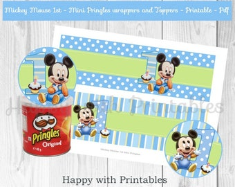 Mickey Mouse 1st bday Mini Pringles Wrappers - Baby Mickey Mouse mini Pringles labels - Mickey Mouse party - Mickey Mouse 1st - Baby Mickey