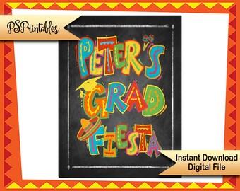 Printable Fiesta Graduation sign,  chalkboard grad sign, Congrats grad sign, Graduation fiesta sign, DIY grad party sign DIY grad sign
