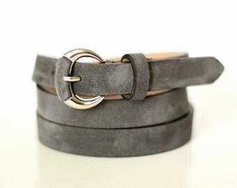 Free shipping! Gray belt, gray leather belt, leather belt, suede belt, gray suede belt, woman gray belt, womans leather belt