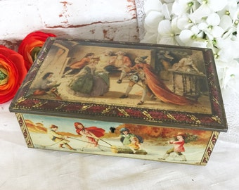 Antique Christmas Biscuit Tin Litho Lock Box, Vintage English canister, Holiday Decorations Winter Yule Log, Carolers, Feast, trinket casket