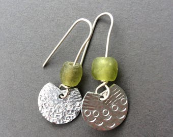 Small fan handmade earrings with recycled glass bead