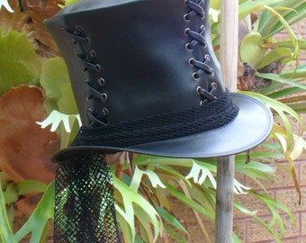 Black leather Ladies' corseted Goth Steampunk Top Hat w. black veil netting