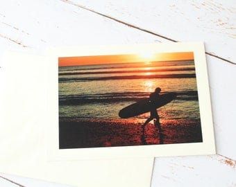 Surfer Beach birthday card, Surfing in the Sunset beach any occasion/ Surfing Photography
