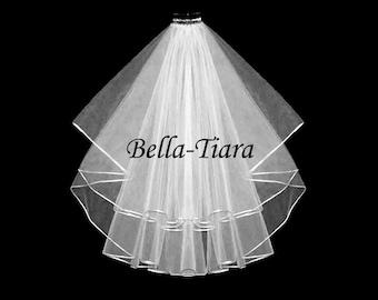 2 tier satin edge veil, 2 tier veil, wedding veil, bridal veil, satin cord veil, wedding veils, veils - FREE SHIPPING