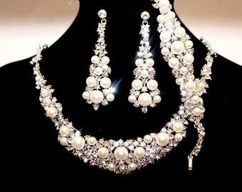 FREE SHIPPING, wedding necklace set,  bridal pearl necklace,  bridal necklace set, Swarovski crystal necklace set,  pearl wedding jewelry