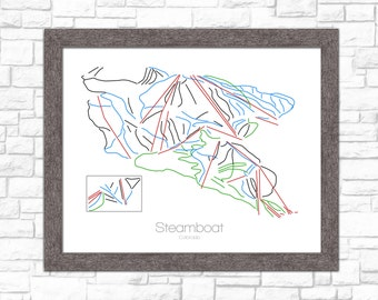 Steamboat Springs Map Colorado CO Ski Snowboard Trail Art --- Print, Poster, Picture --- Gift, Present --- Resort, Mountain, Snow, Winter