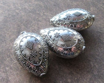 3 Large Tibetan Antique Silver Tear drop Beads, Metal, 30x20mm, 12mm Thick, Hollow Focal Pendant Size