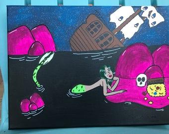 Original Siren ship wreck painting, evil mermaid painting