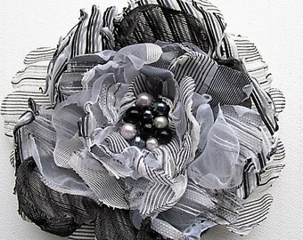 Black & white flower corsage with beaded centre, melted flower fascinator, hair claw, mother of bride corsage, bridesmaid headband, brooch