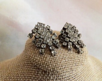 Vintage Shoe Buckles/Clips Silver With Rhinestones 1980