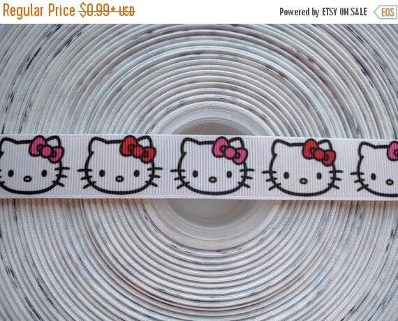 "SUPER SALE HELLO Kitty 7/8"" 22mm Grosgrain Hair Bow Craft Ribbon 781543"