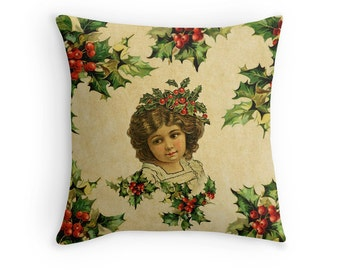 Vintage Style Holly Girl Pillow, Christmas Scatter Cushion, Xmas Cushion Cover