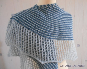 light blue/medium blue shawl, hand knitted, alpaca/silk