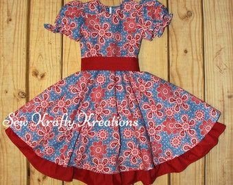 Girl's Dress - Red and Blue Paisley/Western Print - Fancy Twirly Dress